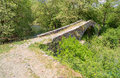 Kamper aga stone bridge epirus greece old one arch on the contribution of the rivers vardas and zagoritikos near the village of Royalty Free Stock Photo