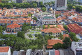 Kampong glam with historic buildings in singapore malay heritage center and sultan mosque aerial view Stock Photography