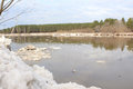 Kan river after an ice drift near zelenogorsk krasnoyarsk territory Royalty Free Stock Image