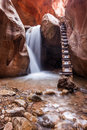 Kanarra creek slot canyon in zion national park utah trail Royalty Free Stock Images