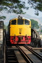 Kanchanaburi, Thailand: Train on River Kwai Bridge Stock Photography