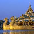 Kandawgyi lake karaweik yangon myanmar the is a replica of a burmese royal barge on in in although a national landmark it now Royalty Free Stock Photography