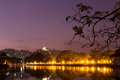 Kandy lake lakeside at night in beside temple of the tooth Royalty Free Stock Photos