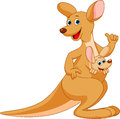 Kangaroo cartoon mother with her baby Stock Images