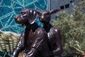 Kangaroo and dog sculpture