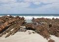 Kangaroo island australia rocky beach of stokes bay south Stock Image