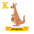 Kangaroo. K letter. Cute children animal alphabet in vector. Fun Royalty Free Stock Photo