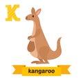 Kangaroo. K Letter. Cute Child...
