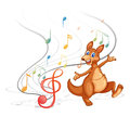 A kangaroo with the musical notes illustration of on white background Royalty Free Stock Photos