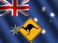 Kangaroo sign with Australian flag Stock Photography