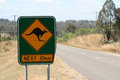 Kangaroo sign warning in australia Royalty Free Stock Photo
