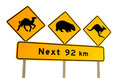 Kangaroo, wombat and camel warning sign Australia Royalty Free Stock Photo