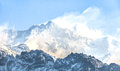 Kangchenjunga is the third highest mountain in world it rises with an elevation of m from dzongri view point Royalty Free Stock Images