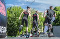Kangoo fitness instructors exercise outdoor jumping and exercising on scene on may in bucharest Stock Photo