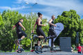Kangoo fitness instructors teaching people and doing exercise on scene outdoor on may in bucharest Stock Image