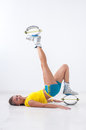 Kangoo jumps athlete makes exercises Royalty Free Stock Images