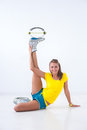 Kangoo jumps athlete makes exercises Stock Image