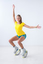 Kangoo jumps athlete makes exercises Stock Photography