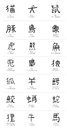 Kanji animals different written in hand drawn characters included are the translation hiragana and pronunciation of each Royalty Free Stock Photos