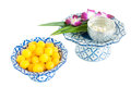 Kanom thong yod gold egg yolks drops a traditional thai dessert Stock Image