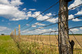 Kansas pasture fence blue sky barbed wire in cumulus clouds in Stock Images