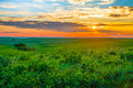 Kansas Sunset in the Flint Hills Royalty Free Stock Photo