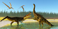 Kaprosuchus swamp two anhanguera reptiles fly over as a marine reptile confronts an agustinia dinosaur Royalty Free Stock Photos