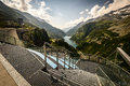 Kaprun dam wall view fromthe highest power plant in austria Royalty Free Stock Image