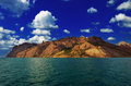 Karadag mountain view from the sea on the famous natural reserve of volcanic massif in the crimea on the black sea Royalty Free Stock Image