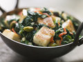 Karai Dish with Spinach and fried Paneer Stock Photos