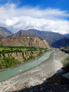 Karakoram highway mountain range and hunza river in summer view of the the along the Royalty Free Stock Photography