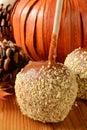 Karamelappel met noten Stock Fotografie