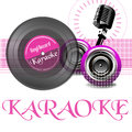 Karaoke abstract colorful illustration with vinyl record old microphone loudspeakers and the word written with pink letters Stock Photography
