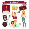 Karaoke club party icon attributes poster on white