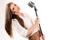 Karaoke girl singing isolated on white background lovely Stock Photos