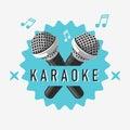 Karaoke Label Sign Design With Microphone Illustrations