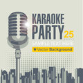 Karaoke parties banner with microphone for over modern city background Royalty Free Stock Image