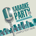 Karaoke parties banner with microphone for over modern city background Stock Image