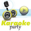 Karaoke party abstract colorful background with microphone yellow play button loudspeakers and the text written bellow Royalty Free Stock Images