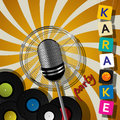 Karaoke party design card with microphone for events Stock Photography