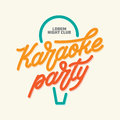 Karaoke party lettering advertising. Typography vector vintage illustration.