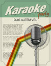 Karaoke poster party invitation retro style design Stock Images
