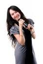 Karaoke singer on a white background. Stock Photos