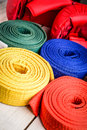 Karate belts many of different colors Royalty Free Stock Image