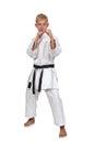 Karate boy in kimono Royalty Free Stock Photo