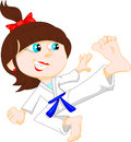 Karate girl cartoon Royalty Free Stock Photo