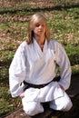 Karate girl - meditation Royalty Free Stock Photo