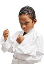 Karate kid cute on white background Stock Photo
