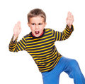 Karate kid in rage Royalty Free Stock Photo