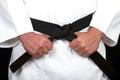 Karate man with katana Stock Image
